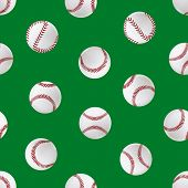 Realistic Detailed 3d Baseball Leather Ball Seamless Pattern Background Closeup View Element For Spo poster