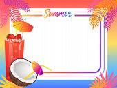Summer Empty Frame With Coconut And Sweet Cocktail. Bright Blank Framework With Palms And Summer Nat poster