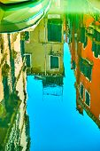 Venetian mirror - Houses, boat and blue sky reflect in the water of canal. Venice in water reflectio poster