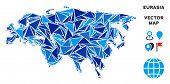 Eurasia Map Collage Of Blue Triangle Items In Variable Sizes And Shapes. Vector Triangles Are Arrang poster