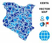 Kenya Map Collage Of Blue Triangle Elements In Variable Sizes And Shapes. Vector Polygons Are Groupe poster