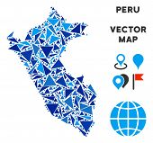 Peru Map Collage Of Blue Triangle Items In Various Sizes And Shapes. Vector Polygons Are United Into poster