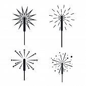 Sparkler Fireworks Bonfire Icons Set. Simple Illustration Of 4 Sparkler Fireworks Bonfire Vector Ico poster