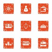 Exchange Icons Set. Grunge Set Of 9 Exchange Vector Icons For Web Isolated On White Background poster