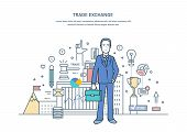 Businessman On Trade Exchange, Auctions, Foreign Exchange Market, Protection Of Trades, Growth Of Fi poster