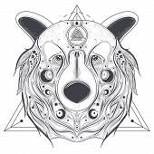 Grizzly Bear Head With Ancient Pagan Valknut Symbol On Forehead Line Art Illustration Isolated On Wh poster