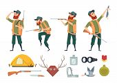 Hunters Equipment. Various Tools For Duck Hunters. Illustration Of Hunter And Gun, Equipment Weapon poster