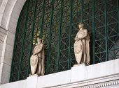 stock photo of amtrak  - Union Station at Washington DC with Statues - JPG
