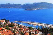 Harbour Of City Kas (kash) In Turkey And Greek Island Kastelorizo