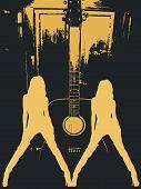 Постер, плакат: Танцы девушек и гитара