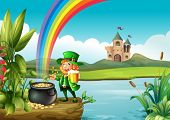 stock photo of end rainbow  - Illustration of a man and a pot of gold above the trunk across the castle - JPG