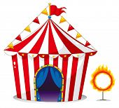 Illustration of a circus tent beside a ring of fire on a white background