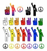 stock photo of peace-sign  - A vector collection of peace symbols in every color - JPG
