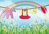 Постер, плакат: Иллюстрация дети одежды висели возле трава