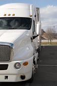 stock photo of semi-truck  - white semi tractor trailer truck - JPG