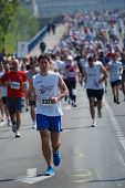 BELGRADE, SERBIA - APRIL 21: A group of marathon competitors during the 26th Belgrade Marathon on Ap