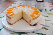 picture of tort  - tasty torte with cream curd and manderines