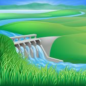 picture of hydroelectric power  - Illustration of a hydroelectric dam generating power and electricity - JPG