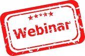 Webinar On Red Rubber Stamp Over A White Background