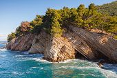Coastal Rocks With Pine Trees. Adriatic Sea, Montenegro