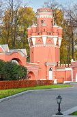 The watchtower of red brick the Petroff Palace in Moscow, which was built in the 18th century