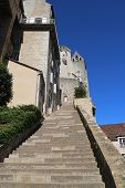 Grand Stairway toward Episcopal City in Rocamadour, France.