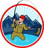 stock photo of fly rod  - Illustration of a fly fisherman with fly rod and reel reeling and netting up a trout fish set inside circle with lake trees and mountain in background done in cartoon style - JPG