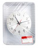 Wrapped plastic white food container with clock and blank label isolated
