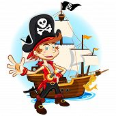 picture of pirate sword  - An Illustration Of Pirate Kid Holding Sword And Smiling With Background Of Big War Ship - JPG