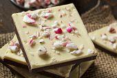 foto of white bark  - Homemade Christmas Peppermint Bark Dessert with White Chocolate - JPG
