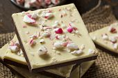 foto of peppermint  - Homemade Christmas Peppermint Bark Dessert with White Chocolate - JPG