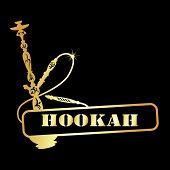 picture of hookah  - design symbol golden hookah for the vector - JPG