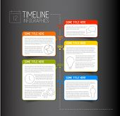 stock photo of descriptive  - Vector dark Infographic timeline report template with icons and descriptive bubbles - JPG