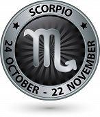 picture of scorpio  - Scorpio zodiac silver sign virgo symbol vector illustration - JPG