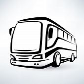 pic of outline  - modern bus stylized symbol outlined vector icon - JPG
