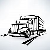 stock photo of lorries  - american lorry vector silhouette truck outlined sketch - JPG