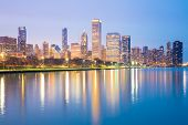 pic of willy  - City of Chicago downtown and Lake Michigan at dusk - JPG