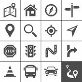 stock photo of trans  - Route planning and transportation icon set - JPG