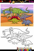 foto of apatosaurus  - Coloring Book or Page Cartoon Illustration of Color and Black and White Dinosaurs Group for Children - JPG