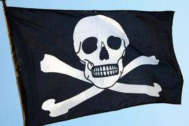 foto of skull crossbones flag  - Pirate flag of skull and crossbones - JPG
