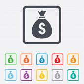 pic of sack dollar  - Money bag sign icon - JPG