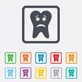 pic of bad teeth  - Tooth sad face sign icon - JPG