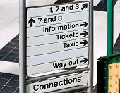 stock photo of commutator  - Direction or information sign at an English Train Station generally run by british rail and used to guide commuters getting to work around efficently - JPG