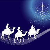 pic of three kings  - Illustration of three wise men silhouette and stars - JPG