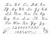 foto of cursive  - Hand drawn uppercase calligraphic alphabet and number - JPG