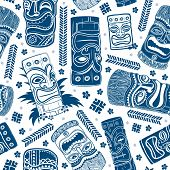 stock photo of tiki  - Vintage Aloha Tiki seamless pattern for your business - JPG