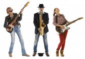 picture of saxophones  - Duo woman guitar saxophone and man with saxophone and saxophone on a white background - JPG