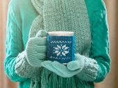 stock photo of hot-weather  - Woman holding winter cup close up on light background - JPG