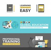 pic of online education  - Flat banner set of global online education success professional training electronic learning process awards winning and knowledge elements - JPG
