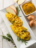 image of indian apple  - escalope with apple onions and curry - JPG